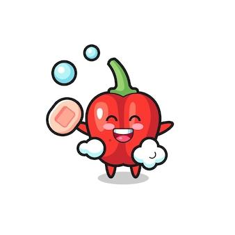 Personagem de pimentão vermelho está tomando banho enquanto segura o sabonete, design de estilo fofo para camiseta, adesivo, elemento de logotipo
