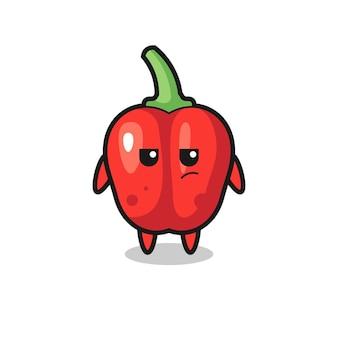 Personagem de pimentão vermelho fofo com expressão suspeita, design de estilo fofo para camiseta, adesivo, elemento de logotipo