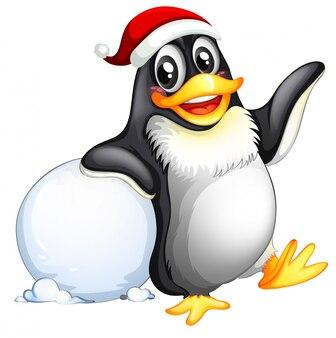 Personagem de pinguim com bola de neve