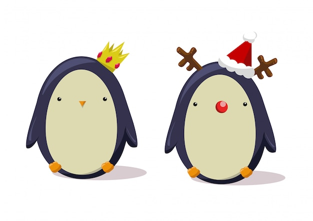Personagem de pinguins de natal