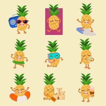 Personagem de pinheiro conjunto de verão
