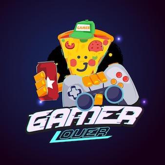 Personagem de pizza com joystick e refrigerante. logotipo do amante do jogador. comida sem qualidade