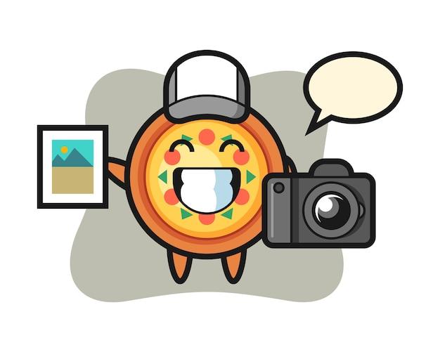 Personagem de pizza como fotógrafo