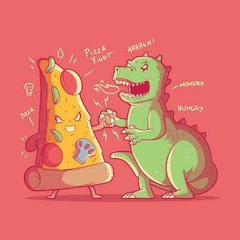 Personagem de pizza lutando contra ilustração de monstro.