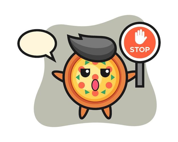Personagem de pizza segurando uma placa de pare