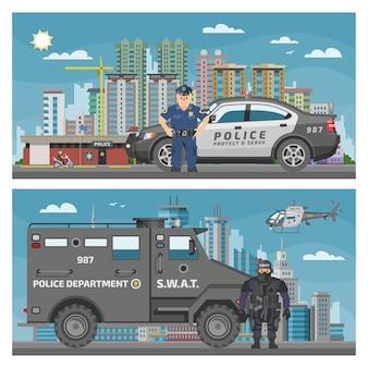 Personagem de polícia de carro de polícia e veículo de política do conjunto de cenário de ilustração de policial de transporte de policiais e serviço de polícia van ou caminhão paisagem urbana fundo