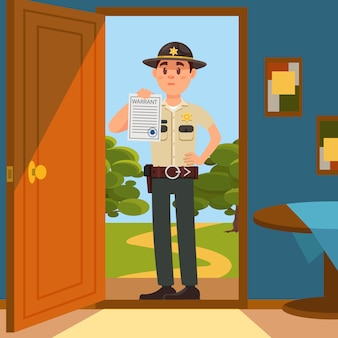 Personagem de policial da cidade xerife masculino em uniforme oficial de pé na porta da casa e mostrando a folha de papel de mandado