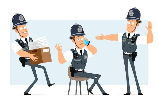 Personagem de policial forte plana engraçado dos desenhos animados em colete à prova de balas com aparelho de rádio. menino falando no telefone e carregando uma caixa com documentos.