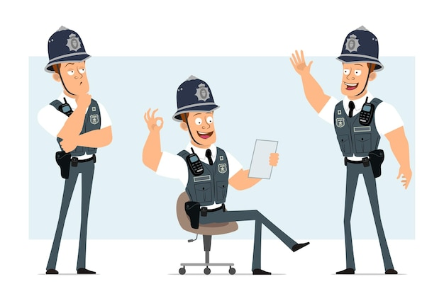 Personagem de policial forte plana engraçado dos desenhos animados em colete à prova de balas com aparelho de rádio. menino lendo o documento e mostrando o gesto certo.