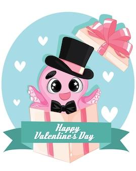 Personagem de polvo rosa em caixa de presente com gravata borboleta e chapéu. modelo de cartão de feliz dia dos namorados.