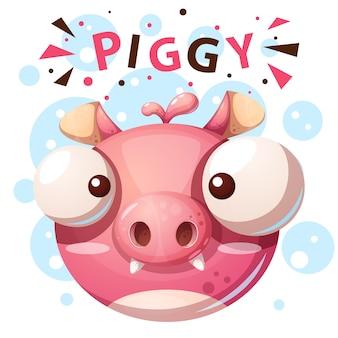 Personagem de porco bonito - ilustração dos desenhos animados