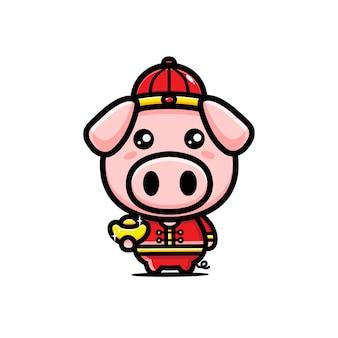 Personagem de porco com ouro