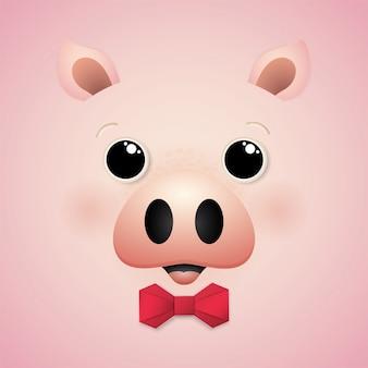 Personagem de porco feliz bonito dos desenhos animados.