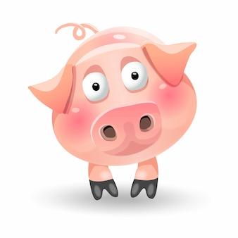 Personagem de porco gordo bonito dos desenhos animados engraçados.