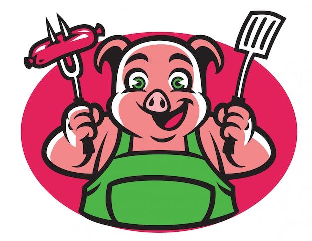 Personagem de porco segurando o garfo de churrasco e salsicha