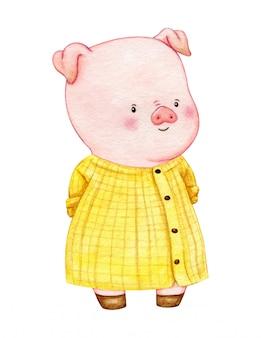 Personagem de porco, vestindo um vestido longo de camisa amarela. animal de fazenda antropomórfica. linda mão pintada desenho aquarela