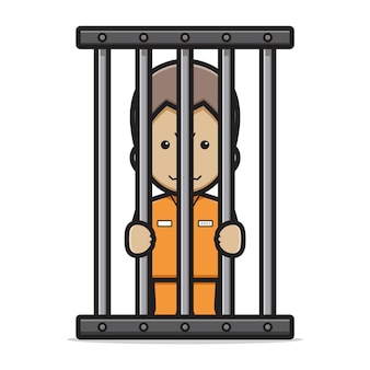 Personagem de prisioneiro bonito na ilustração de ícone do vetor dos desenhos animados da prisão. vetor isolado do conceito de ícone de vilão. estilo de desenho plano