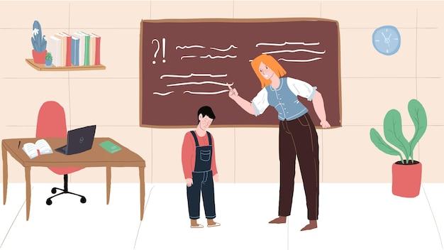 Personagem de professor plano de desenho vetorial jura, grita com o aluno, menino chateado deprimido. relações saudáveis na escola, emoções, comportamento social e conceito de psicologia, design de banner de site da web