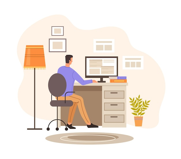 Personagem de programador trabalhando em casa. ilustração de design