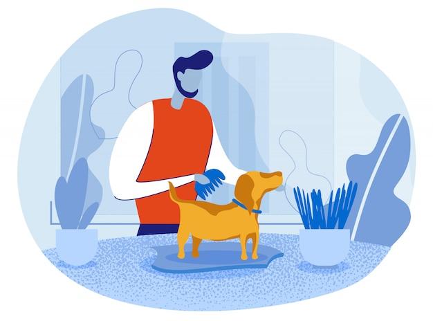 Personagem de proprietário de animal de estimação feliz dos desenhos animados, penteando o cão