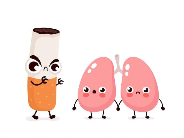 Personagem de pulmões assustador com raiva cigarro matar. isolado no fundo branco