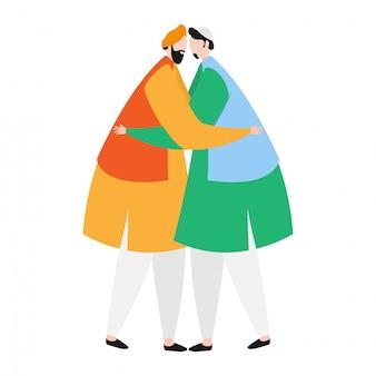 Personagem, de, punjabi, homem abraçando, para, islamic, homem