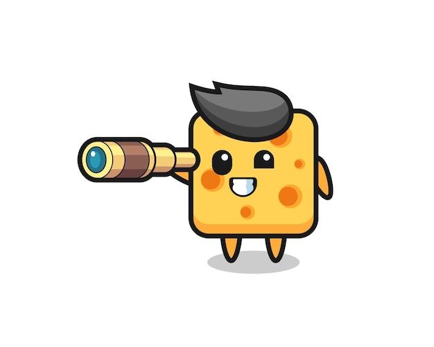 Personagem de queijo fofo está segurando um telescópio antigo, design de estilo fofo para camiseta, adesivo, elemento de logotipo
