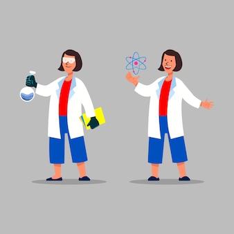 Personagem de químico feminino atômico e químico