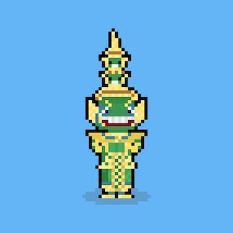 Personagem de ramayana gigante tailandês de pixel art dos desenhos animados