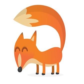 Personagem de raposa bonito dos desenhos animados isolada.