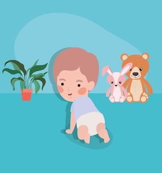 Personagem de rastreamento bebê menino