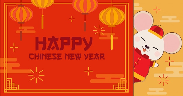 Personagem de rato bonitinho com feliz ano novo chinês