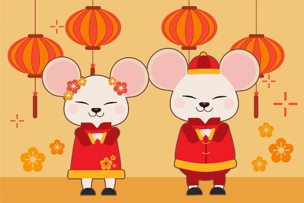 Personagem de rato bonitinho com tema de ano novo chinês