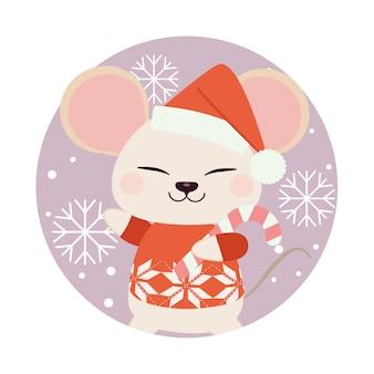 Personagem de rato bonitinho em pé no círculo roxo com floco de neve.