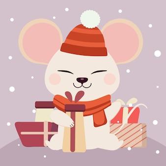 Personagem de rato branco bonito, segurando uma caixa de presente