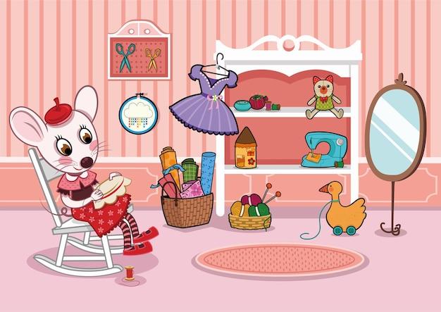Personagem de rato de desenho animado costurando na sala de hobby. ilustração vetorial