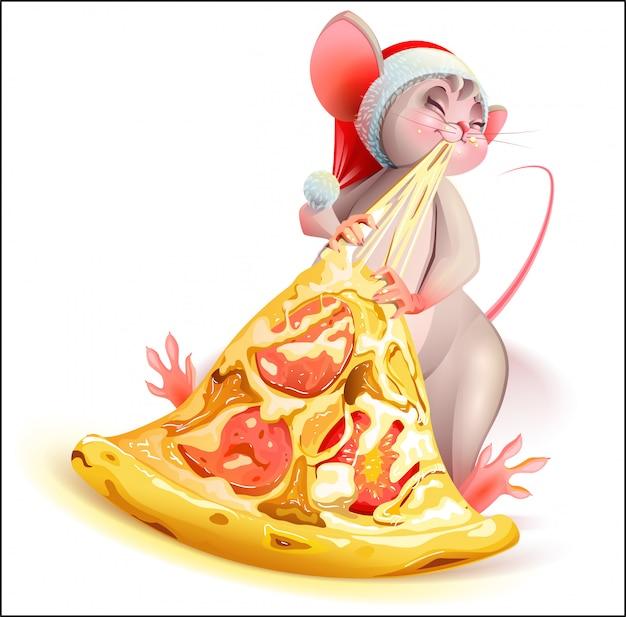 Personagem de rato de natal papai noel comendo pizza com queijo