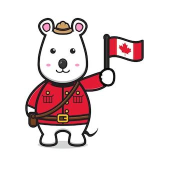 Personagem de rato fofo celebrando ilustração do dia do canadá