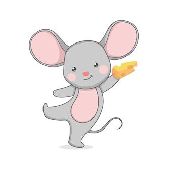 Personagem de rato fofo segurando queijo
