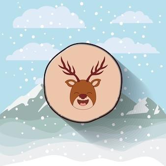 Personagem de rena de natal engraçada isolado ícone do design