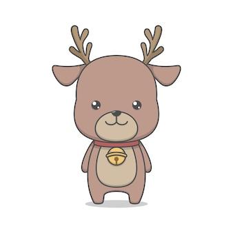 Personagem de rena fofa com colar de sino