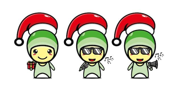 Personagem de repolho fofa e engraçada com tampa de natal personagem de desenho animado kawaii de linha plana de vetor