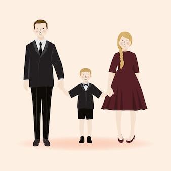 Personagem de retrato de família fofo, pai, mãe e filho em festa formal