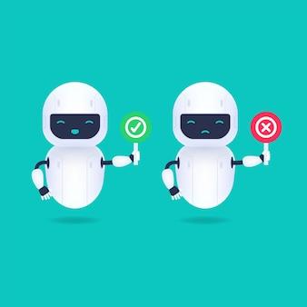 Personagem de robô branco amigável com sinais de sim e não