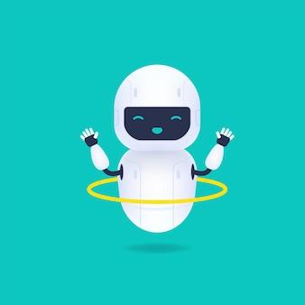 Personagem de robô branco amigável