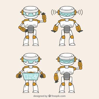 Personagem de robô desenhado a mão com coleção de poses diferentes