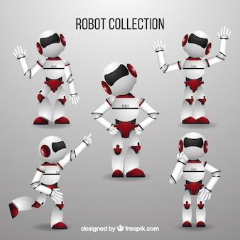 Personagem de robô realista com coleção de poses diferentes