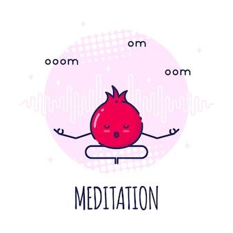 Personagem de romã engraçada meditando em lotos pose padmasana. aulas de ioga.
