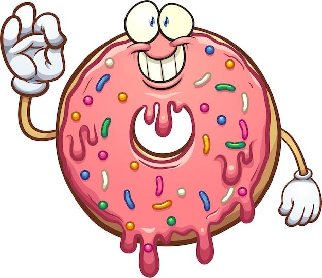 Personagem de rosquinha rosa de desenho animado, fazendo o sinal de mão bem.