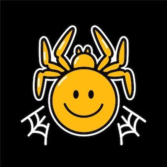 Personagem de rosto com sorriso de aranha psicodélica